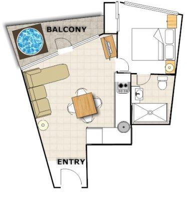 Huski - 1 Bedroom Apartment - Floorplan