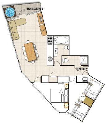 Huski - 2 Bedroom Apartment - Floorplan